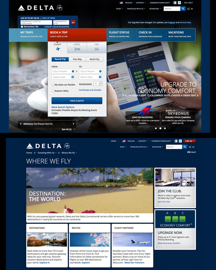 Delta Airlines, eCommerce Site